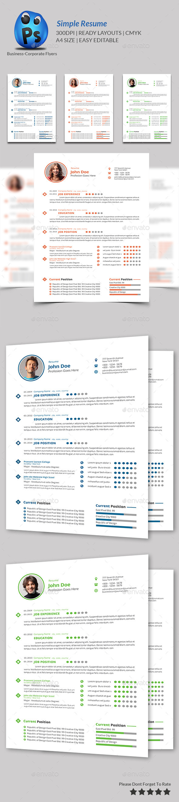 GraphicRiver Simple Resume Print Templates 9454346