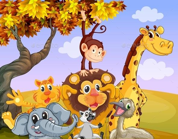 GraphicRiver Wild Animals Near a Big Tree 9454419