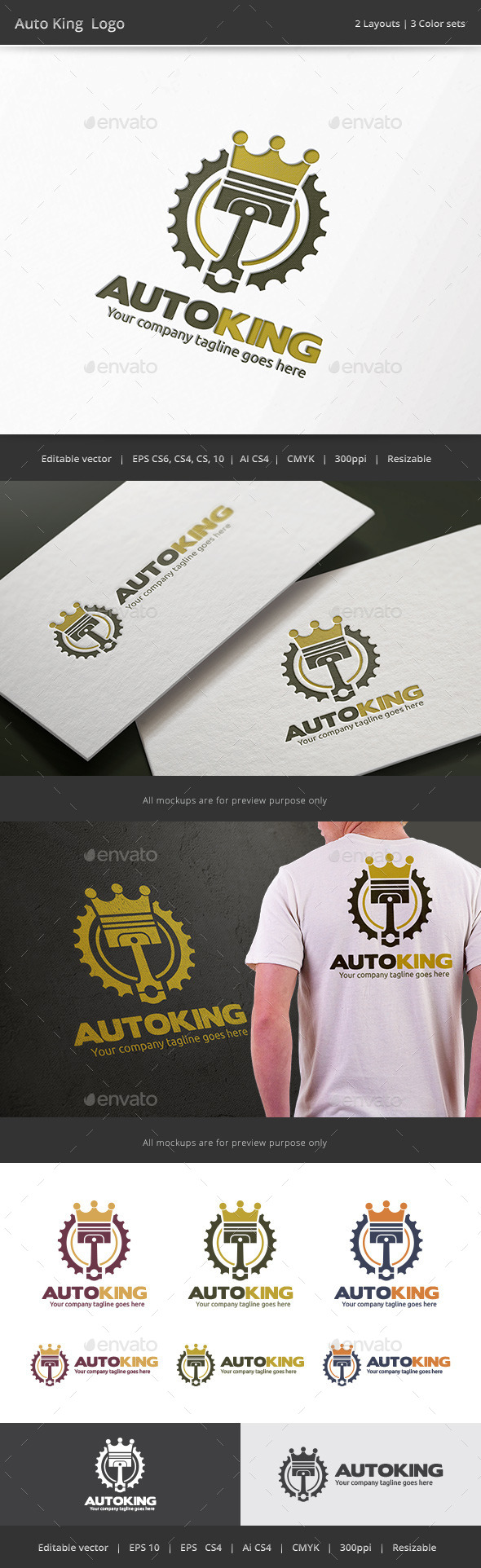 GraphicRiver Auto King Piston Logo 9454454