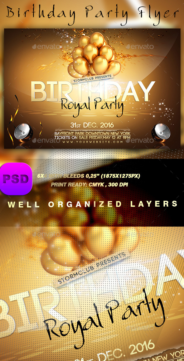 GraphicRiver Birthday Party Flyer 9454540