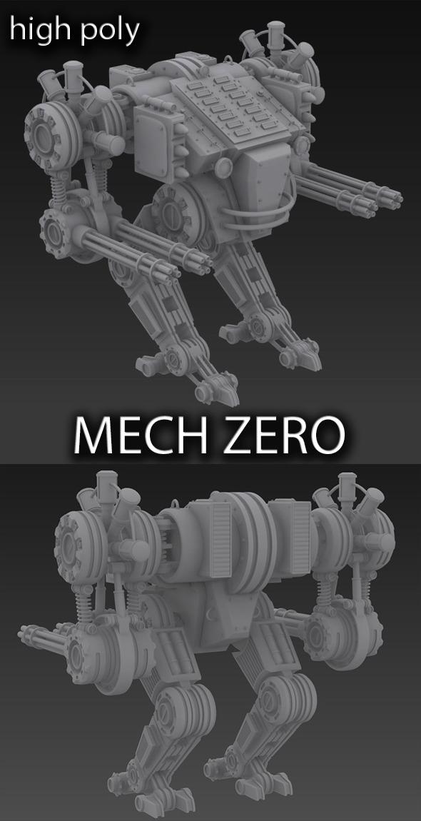 Unique mech robot . High poly  - 3DOcean Item for Sale