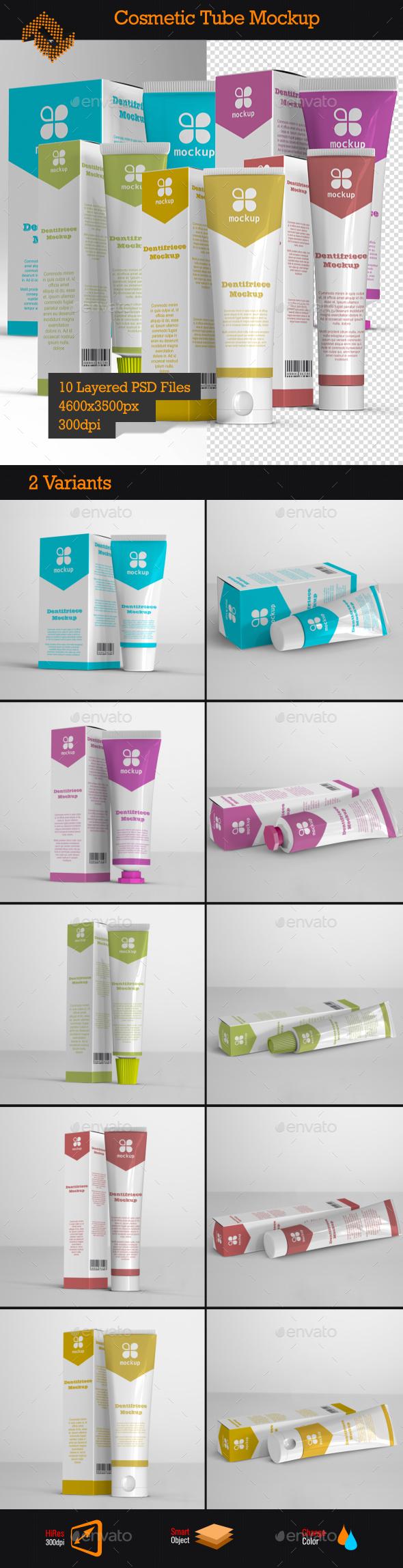 GraphicRiver Cosmetic Cream Tube & Box Mockup 9455096