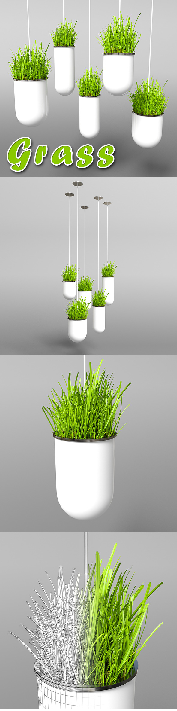 3DOcean Vertical Hanging pots with grass 9455189
