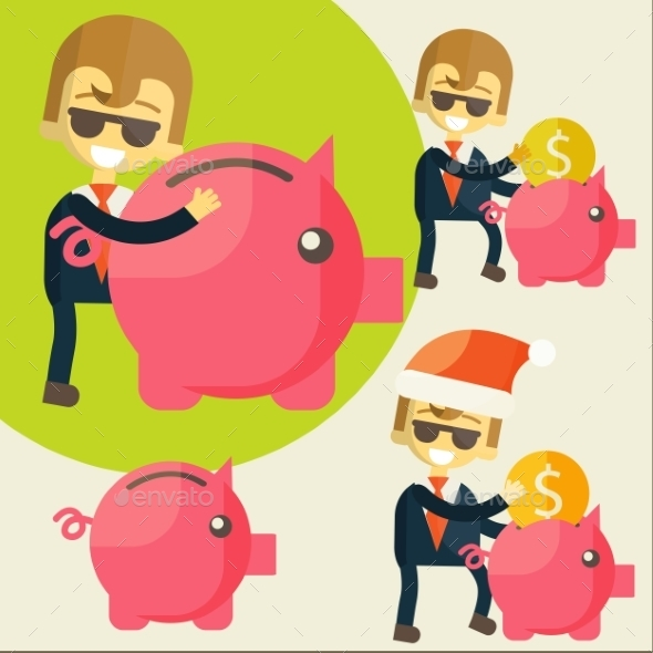 GraphicRiver Businessman Saves Money in Piggy Bank 9455210