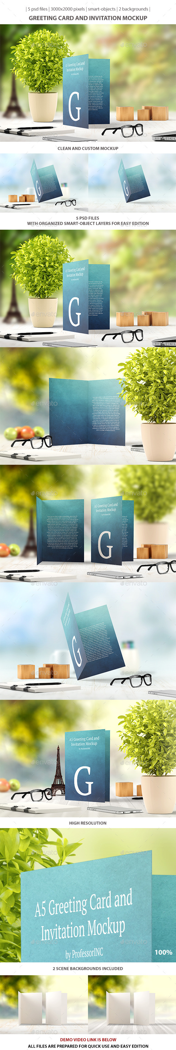 GraphicRiver Greeting Card and Invitation Mockup 9455408
