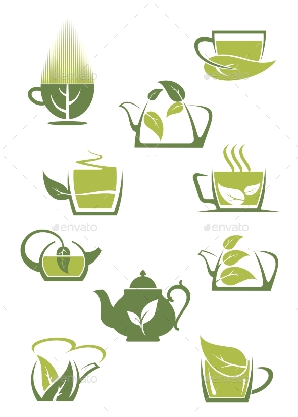 GraphicRiver Green or Herbal Tea Icons 9455529