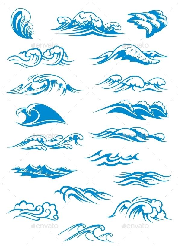 GraphicRiver Blue Breaking Ocean Waves 9455539