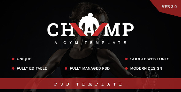 Champ Gym Fitness PSD Template