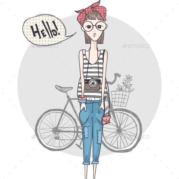 GraphicRiver Hipster Girl with a Camera 9455652