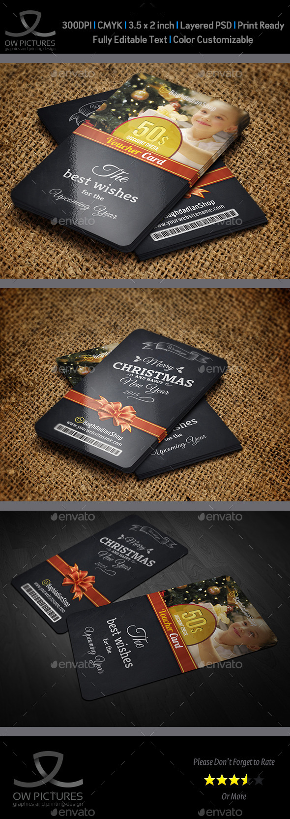 GraphicRiver Christmas and New Year Gift Voucher Card Vol 15 9455661