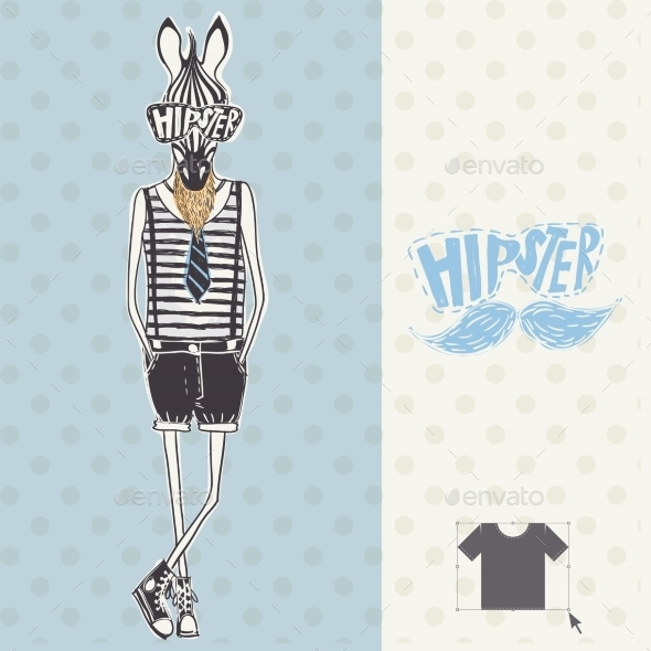 GraphicRiver Hand Drawn Fashion Portrait of Hipster Zebra 9455667