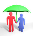Abstract human couple stands under umbrella. Conception of safety - PhotoDune Item for Sale