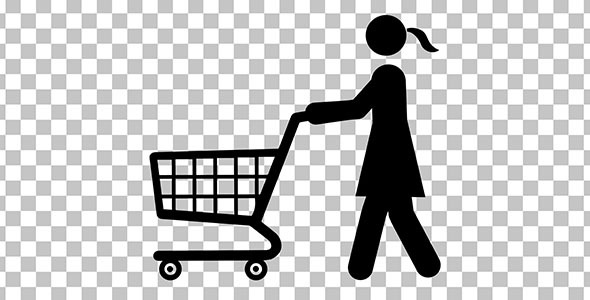 Woman Stick Figure with Shopping Cart
