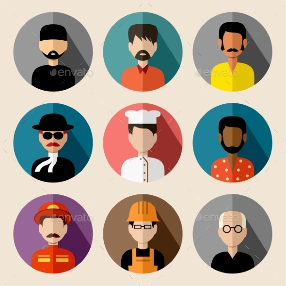 GraphicRiver Set of Round Flat Icons with Men 9455983