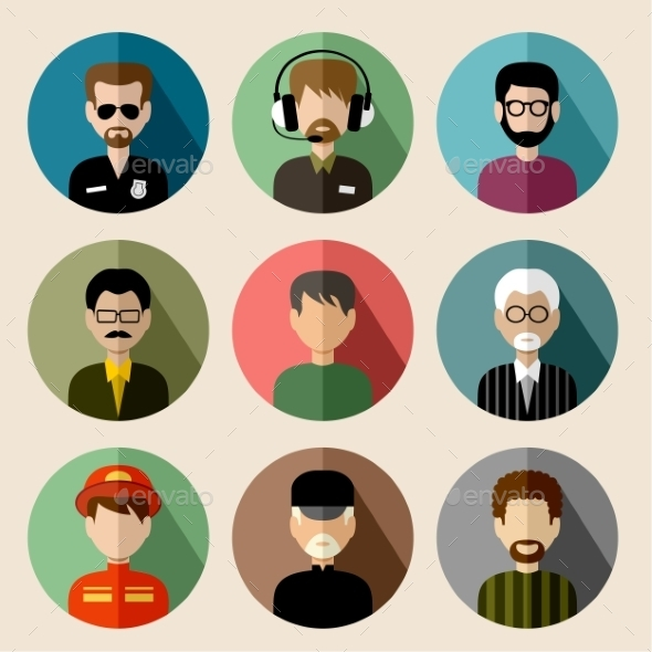 GraphicRiver Set of Round Flat Icons with Men 9455984