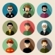 Set of Round Flat Icons with Men - GraphicRiver Item for Sale