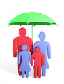 Abstract human family under umbrella. Conception of safety - PhotoDune Item for Sale