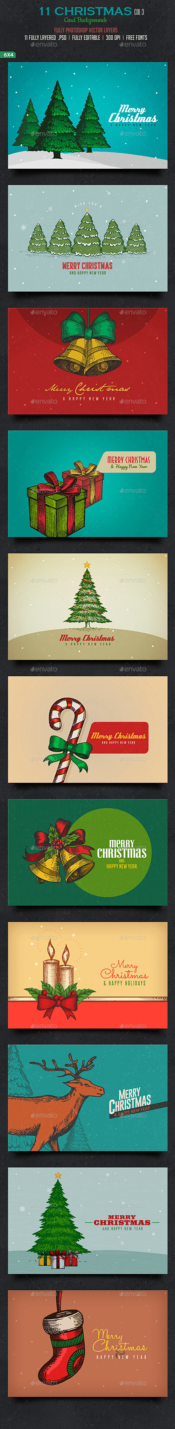 GraphicRiver Christmas Card Backgrounds Col3 9456092