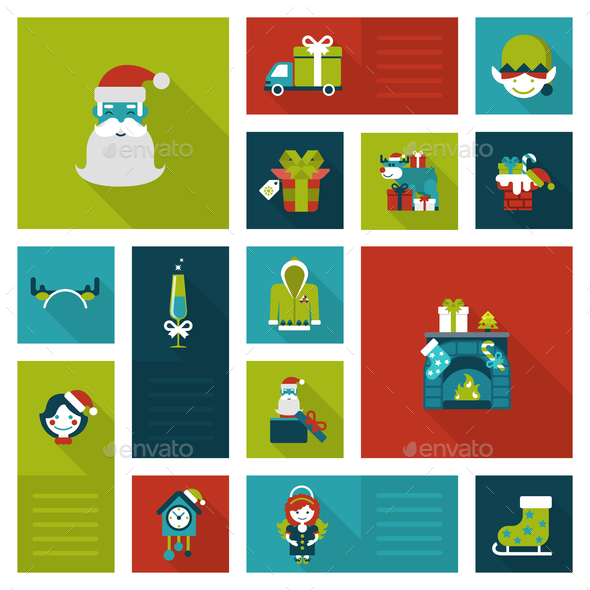 GraphicRiver Christmas New Year Icon Set 9456324