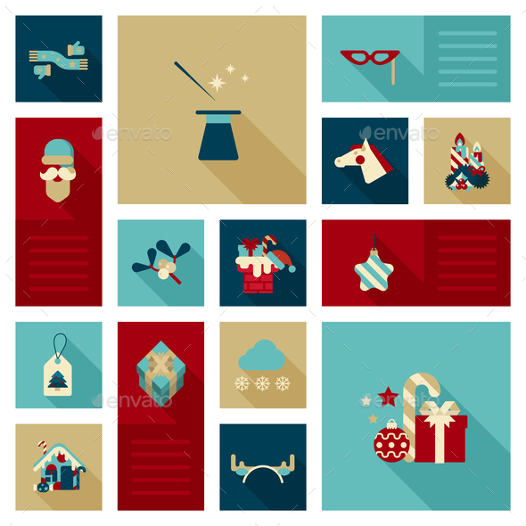 GraphicRiver Christmas New Year Icon Set 9456326