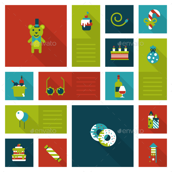 GraphicRiver Christmas New Year Icon Set 9456335