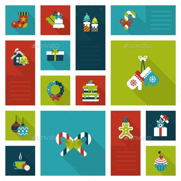 GraphicRiver Christmas New Year Icon Set 9456338