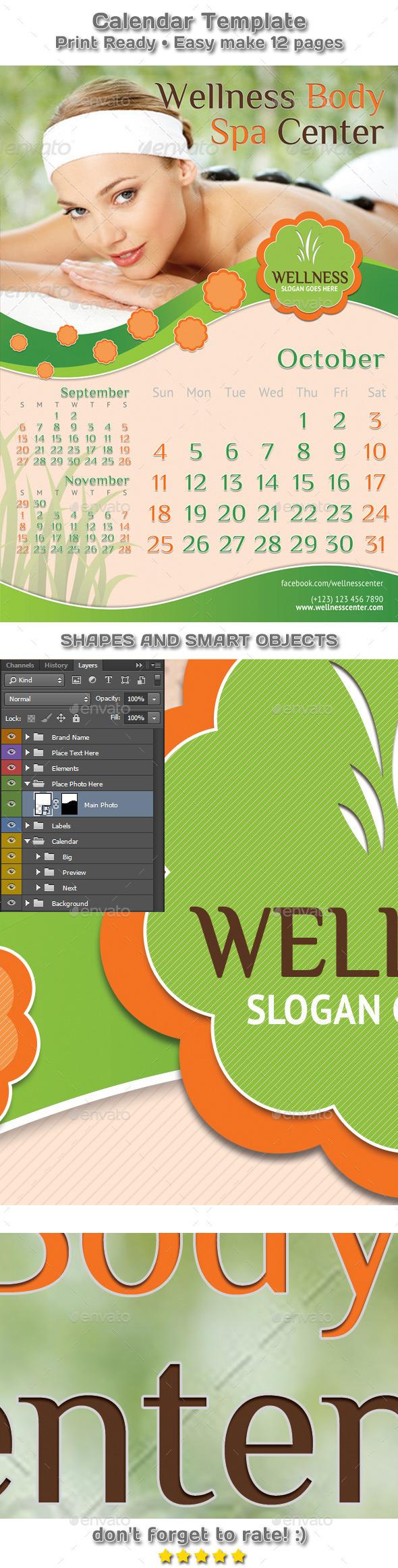 GraphicRiver Yoga Wellness and Spa Calendar Template 9456682