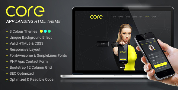 ThemeForest Core Mobile App Landing HTML Theme 9457221