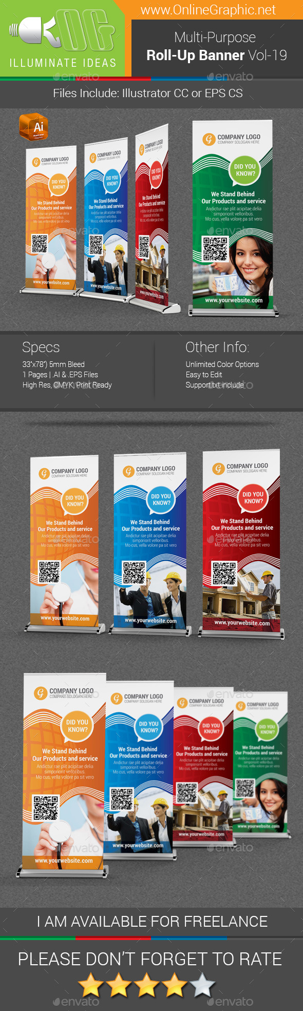 Multipurpose Business Roll-Up Banner Vol-19