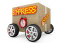 Cardboard box with wheels - express concept - PhotoDune Item for Sale