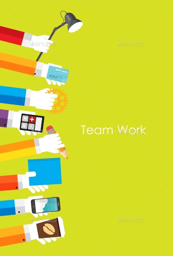 GraphicRiver Team Work Flat Concept Vector Illustration 9457358