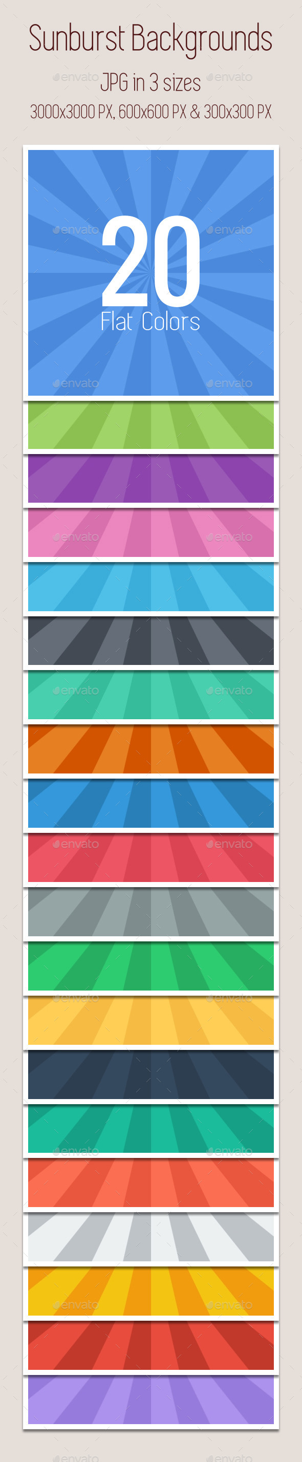 GraphicRiver Sunburst Backgrounds Flat Colors x20 9457415
