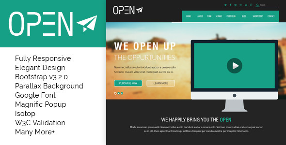 ThemeForest Open Responsive Corporate and Business Template 9457686