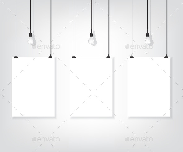 GraphicRiver Three White Poster on Wall and Bulbs 9457706