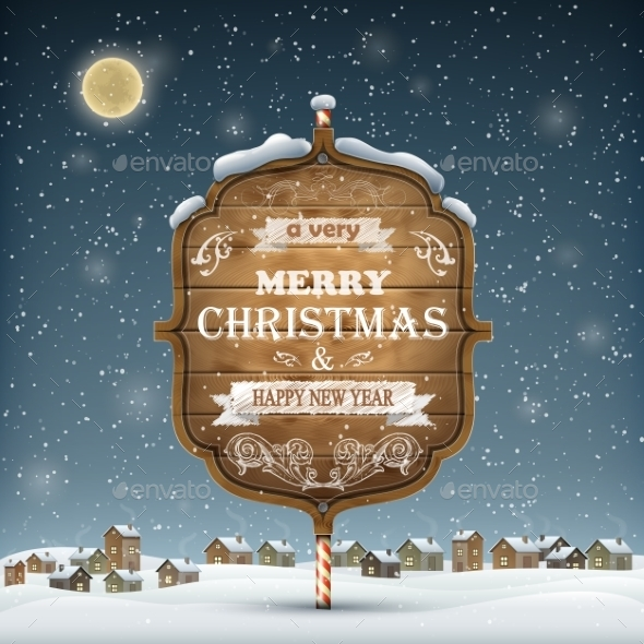 GraphicRiver Wooden Christmas Signboard On The Snow 9457718