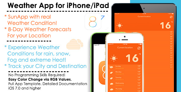 CodeCanyon SunApp Weather iOS Full App Template & AdMob 9457973