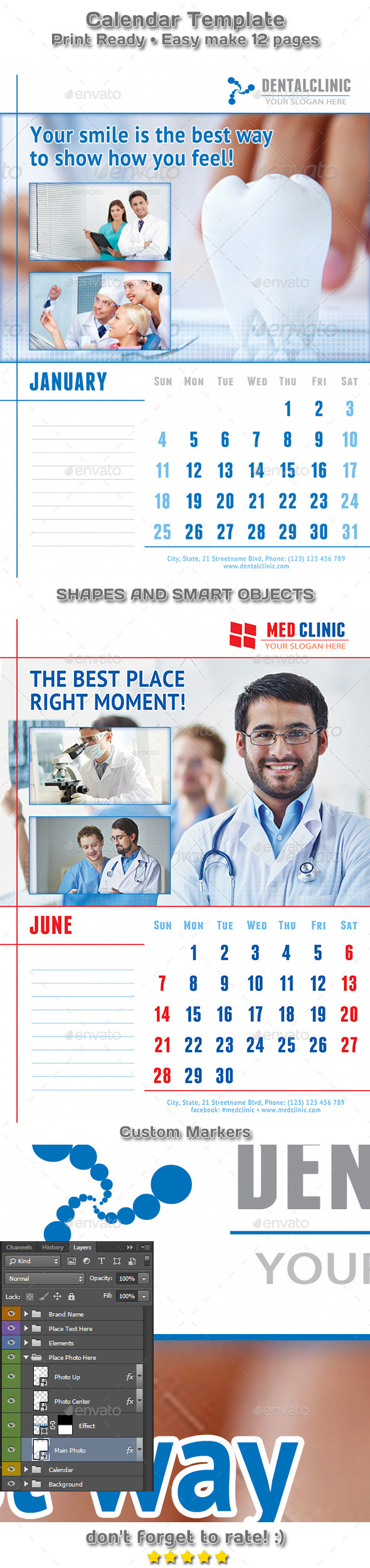 GraphicRiver Medical or Dental Clinic Calendar Template 9458071