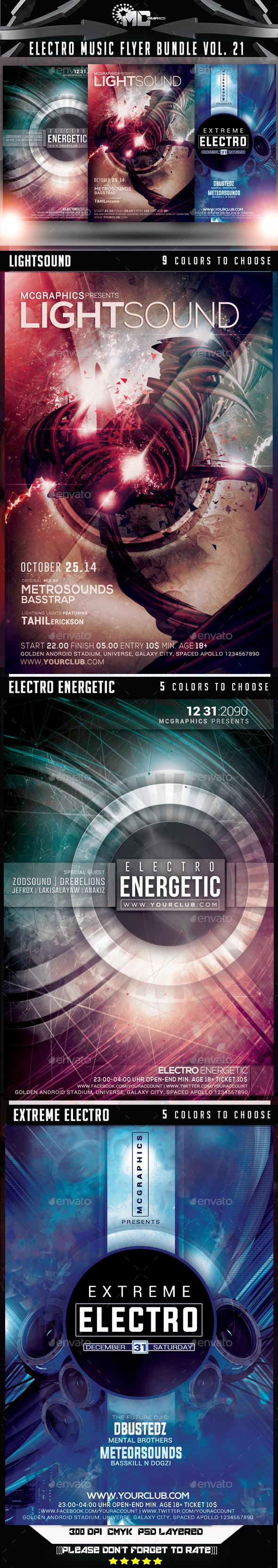 GraphicRiver Electro Music Flyer Bundle Vol 21 9458305