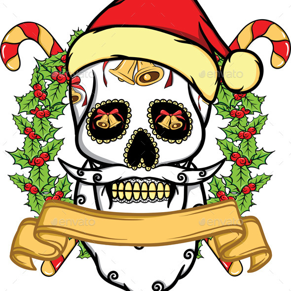 GraphicRiver Christmas Skull 9458359