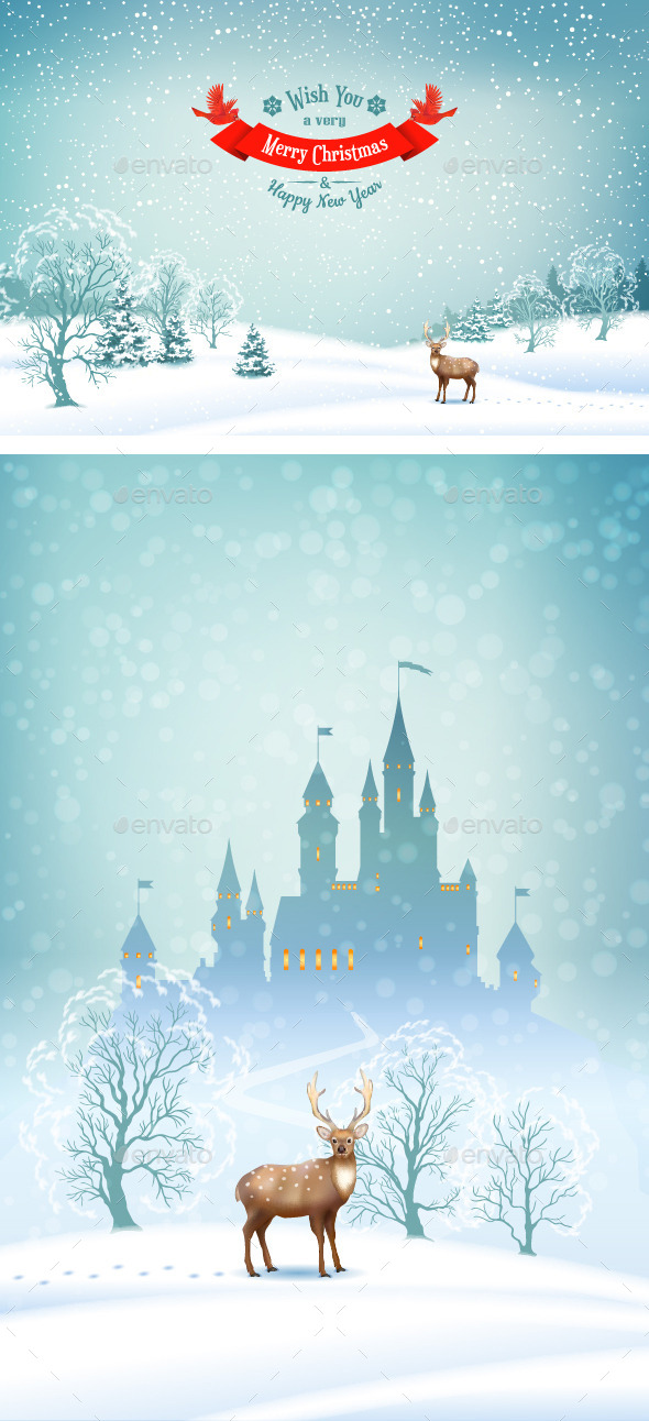 GraphicRiver Winter Landscape Vector Background 9458627