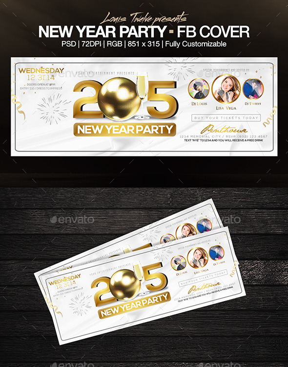 GraphicRiver Elegant New Year Party FB Cover 9458828