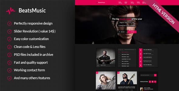 ThemeForest BeatsMusic Music Band Club Party 9358354