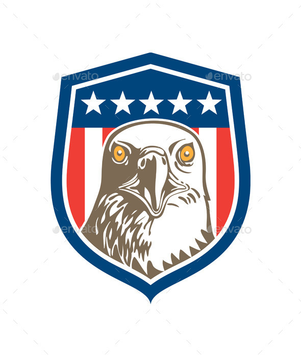 GraphicRiver American Bald Eagle Head Stars Shield 9459383