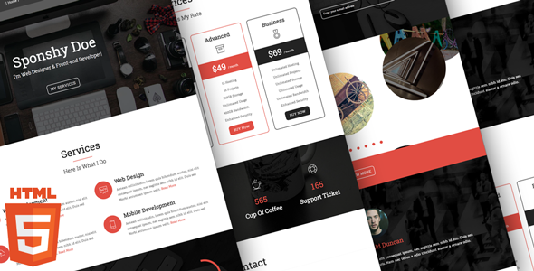 ThemeForest Sponshy HTML5 CSS3 Resume Template 9448888
