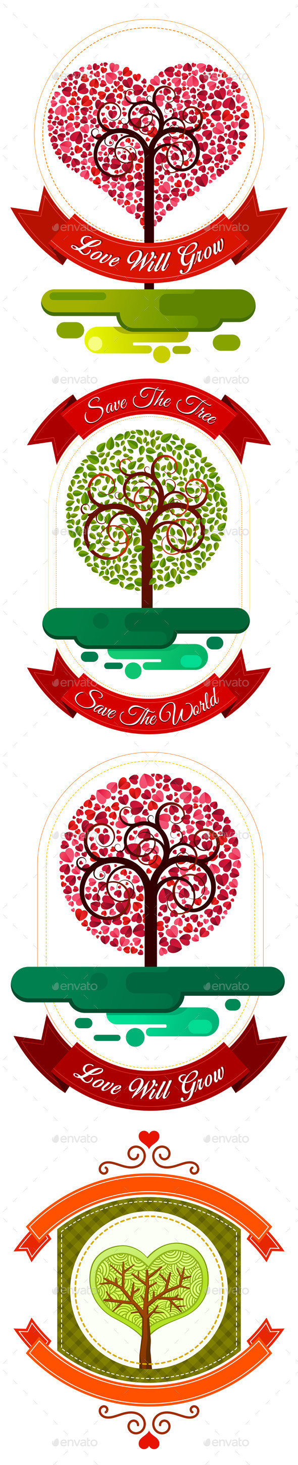 GraphicRiver Combination of Heart and Tree Ornament 9459523