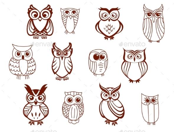 GraphicRiver Set of Owls 9459620