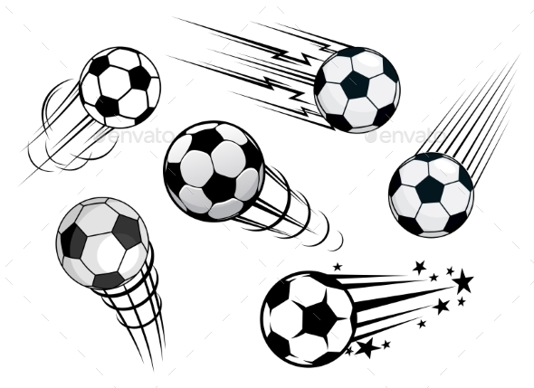 GraphicRiver Speeding Footballs or Soccer Balls 9459655