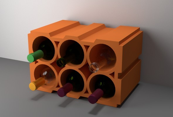3DOcean Wine Rack Bricks 9459977