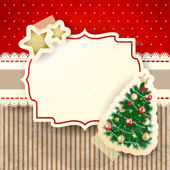 GraphicRiver Christmas Background with Label and Tree 9460562