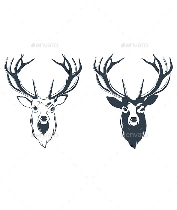 GraphicRiver Male Red Deer Head 9460706